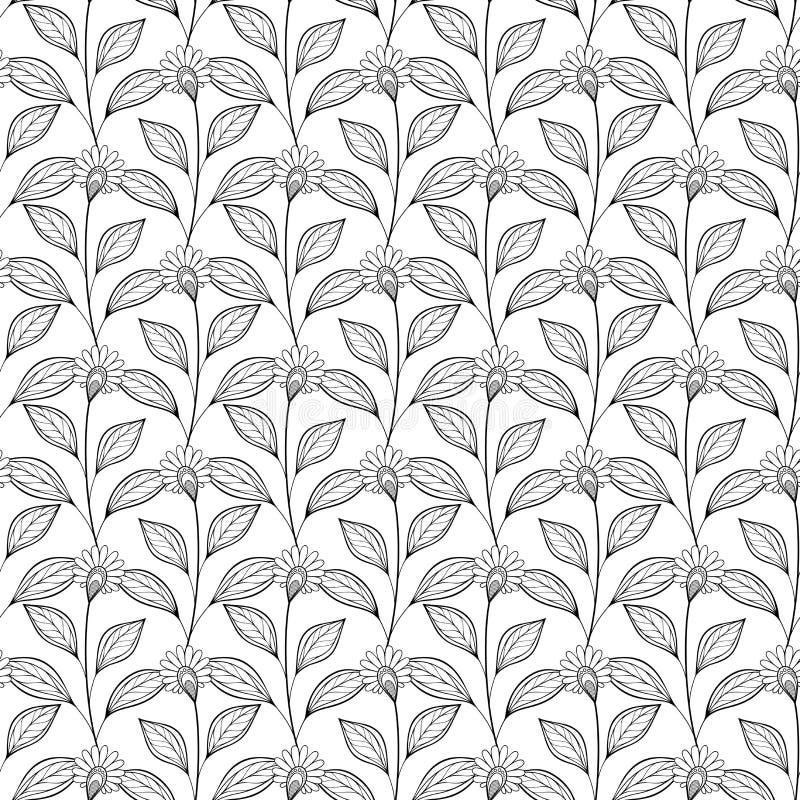 Vector Naadloos Zwart-wit Bloemenpatroon vector illustratie