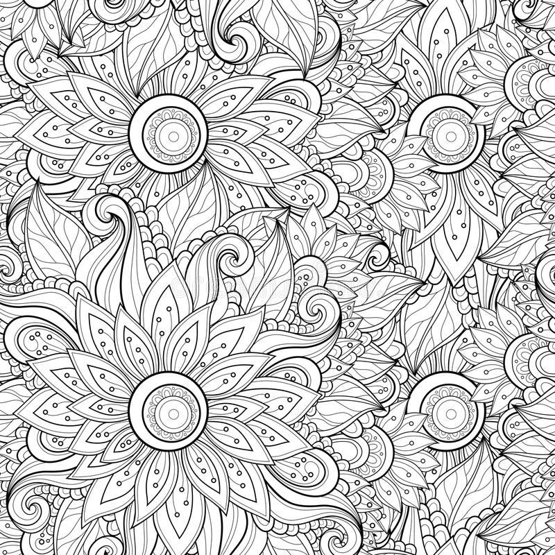 Vector Naadloos Zwart-wit Bloemenpatroon stock illustratie