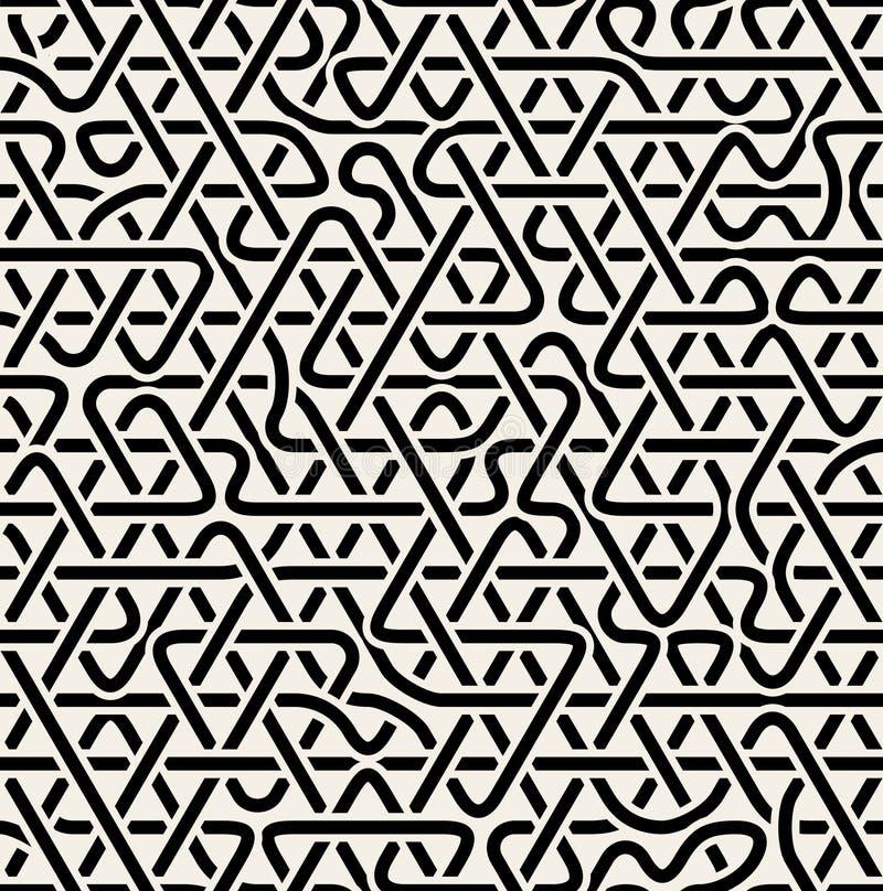Vector Naadloos Zwart-wit de Verbindingspatroon van de Driehoeks Overlappend Lijn royalty-vrije illustratie