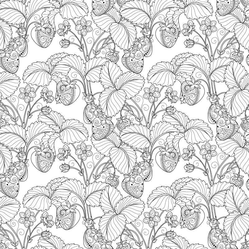 Vector Naadloos Zwart-wit Fruitpatroon vector illustratie