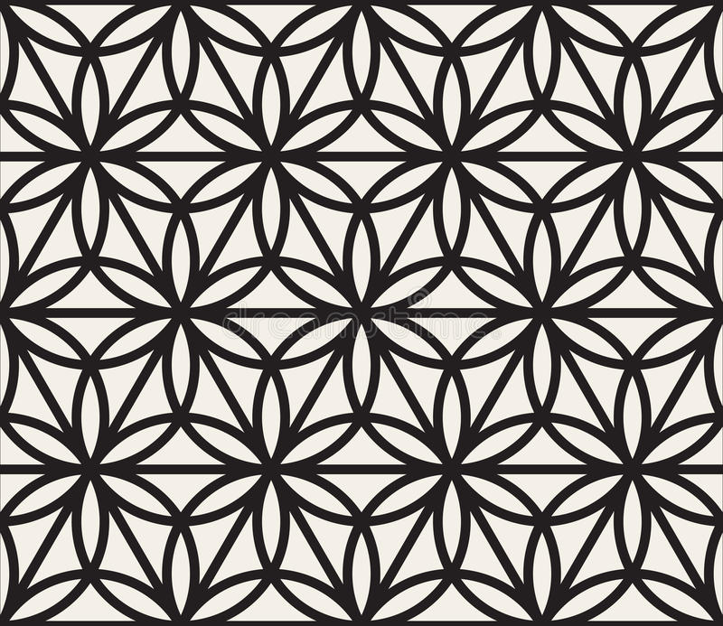 Vector Naadloos Zwart-wit Geometrisch de Vormpatroon van de Cirkeldriehoek royalty-vrije illustratie