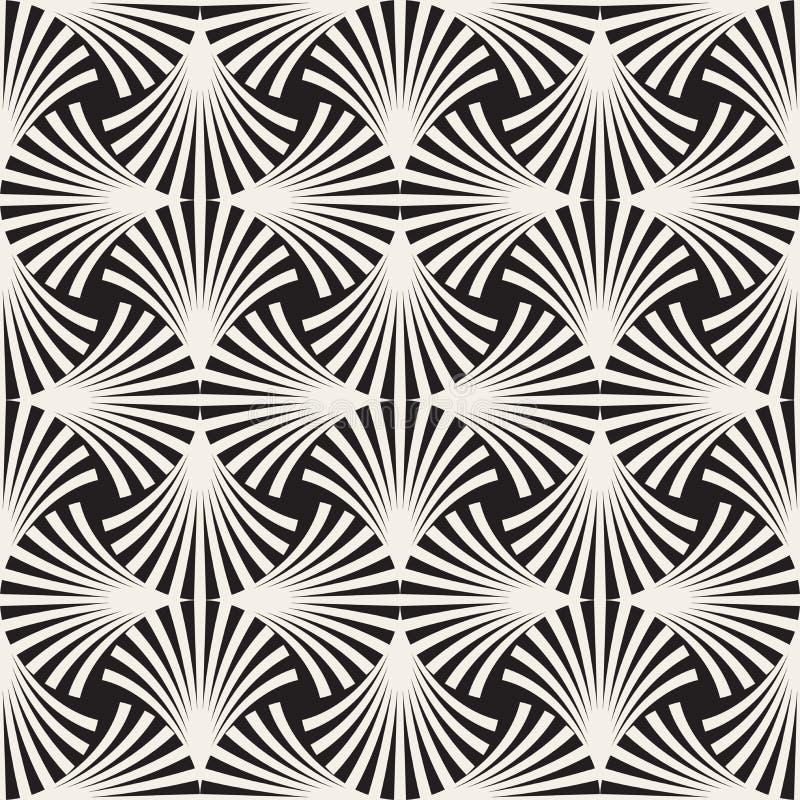 Vector Naadloos Zwart-wit het Netpatroon van Booglijnen vector illustratie