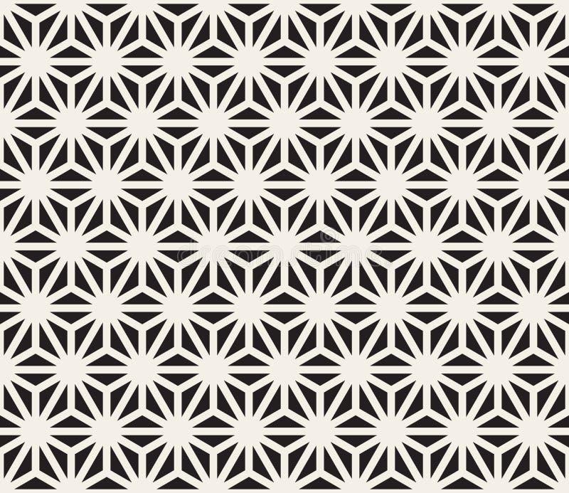 Vector Naadloos Zwart-wit het Netpatroon van Driehoekslijnen royalty-vrije illustratie