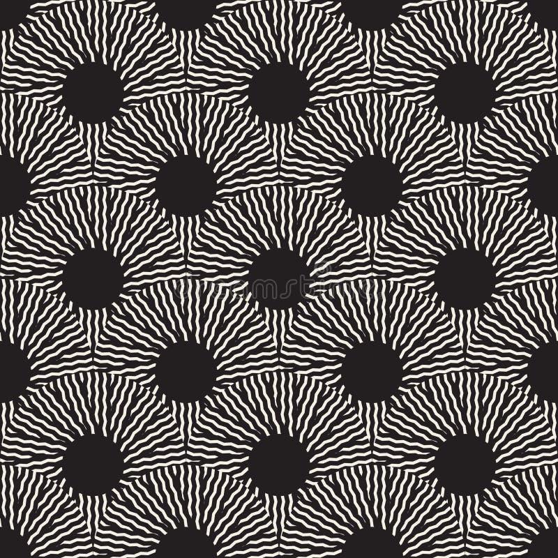 Vector Naadloos Zwart-wit Optisch Art ZigZag Rays Round Circles-Patroon vector illustratie