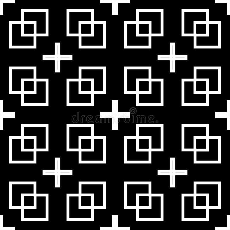 Vector naadloos zwart & Wit retro patroonontwerp stock illustratie