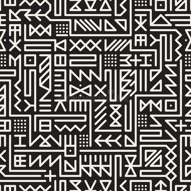 Vector Naadloos Zwart-wit Rond gemaakt de Tekenspatroon van Lijn Geometrisch Hipster stock illustratie