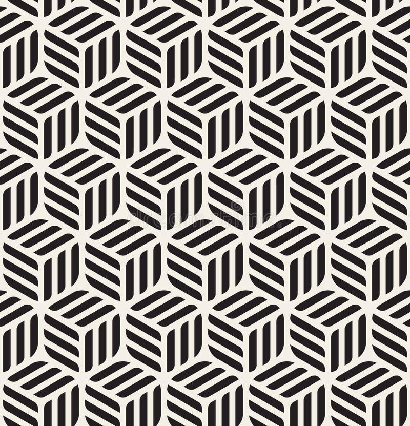 Vector Naadloos Zwart & Wit Rond gemaakt Rechthoeken Hexagonaal Kubiek Patroon royalty-vrije illustratie