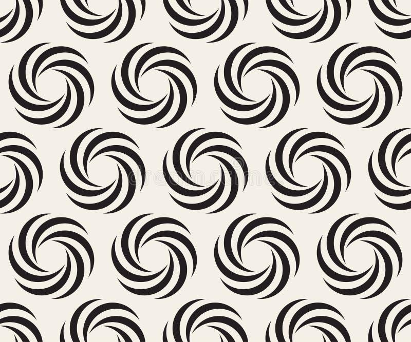 Vector Naadloos Zwart-wit Spiraalvormig de Optische illusiepatroon van de Meetkundecirkel vector illustratie