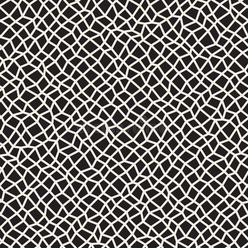 Vector Naadloos Zwart-wit Vervormd het Netpatroon van het Rechthoekmozaïek vector illustratie