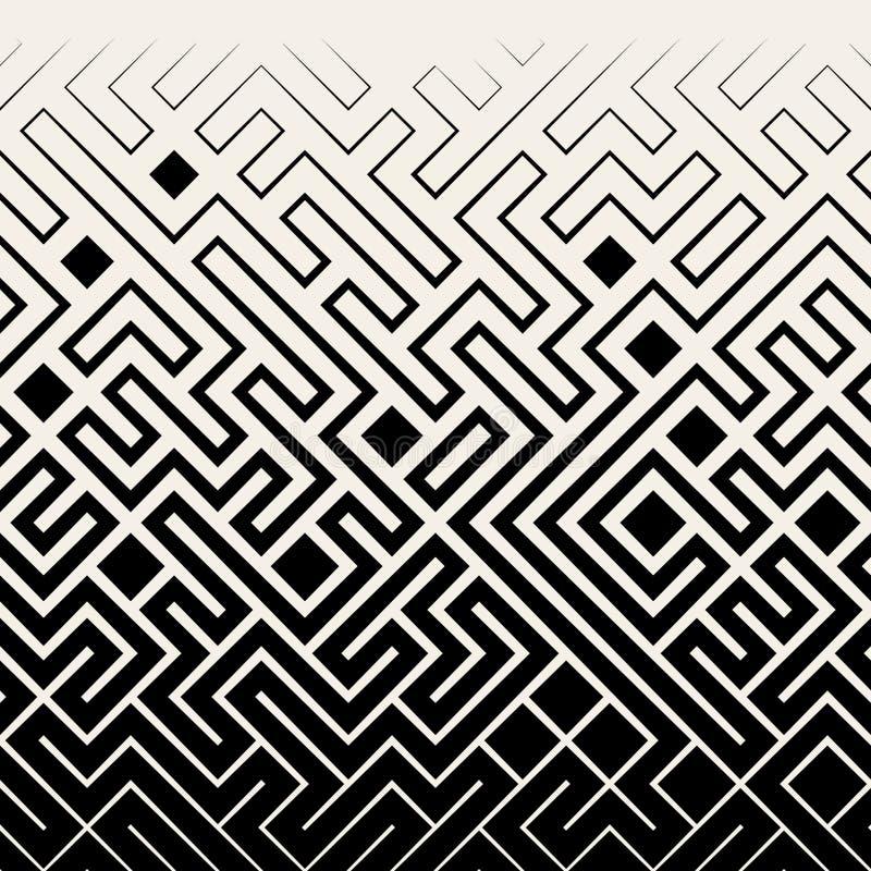 Vector Naadloos Zwart & Wit Vierkant Maze Lines Halftone Pattern vector illustratie