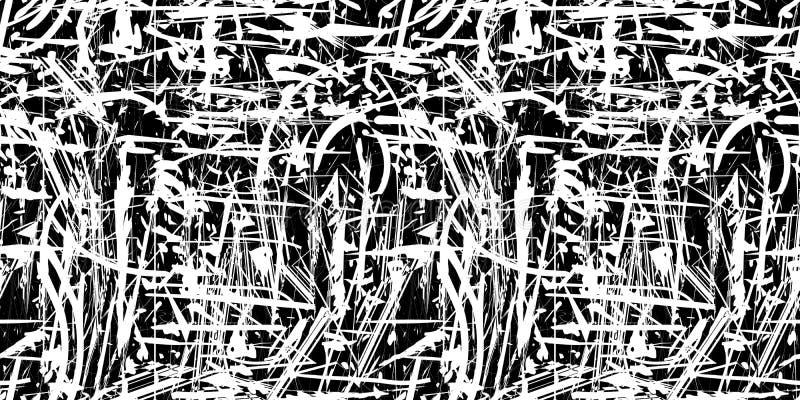 Vector naadloze abstracte grunge zwart-witte achtergrond royalty-vrije illustratie