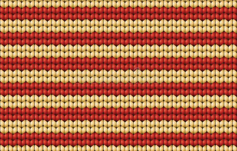 Vector naadloze achtergrond. Gebreide stof met witte en rode st vector illustratie
