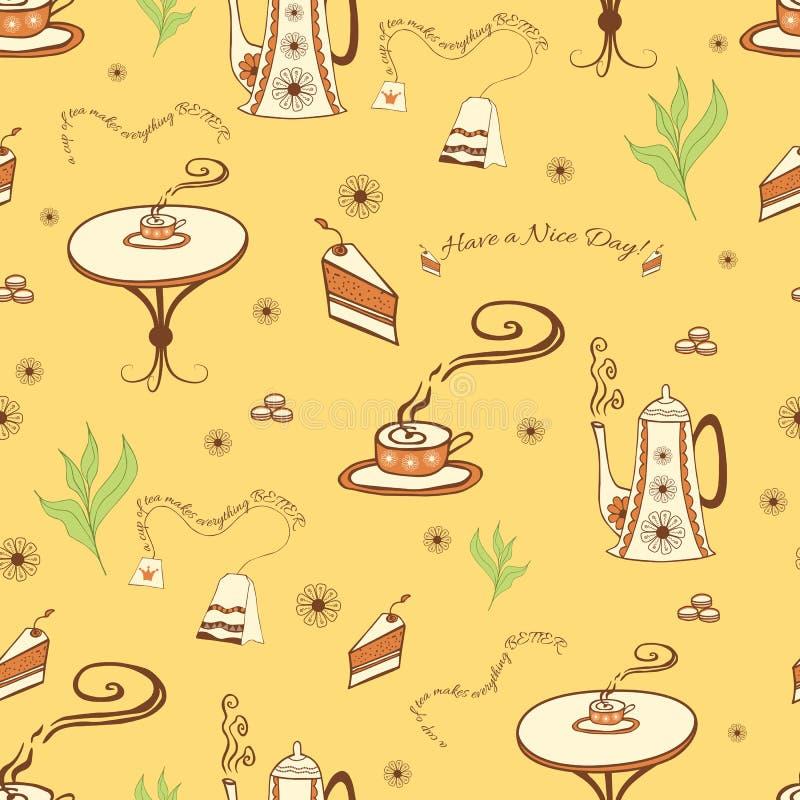 Vector naadloze achtergrond met een kop thee royalty-vrije illustratie