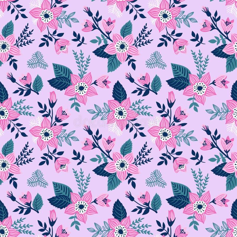 Vector naadloze achtergrond met wilde rozen, uitstekende stijl Hand Getrokken Stoffenontwerp vector illustratie