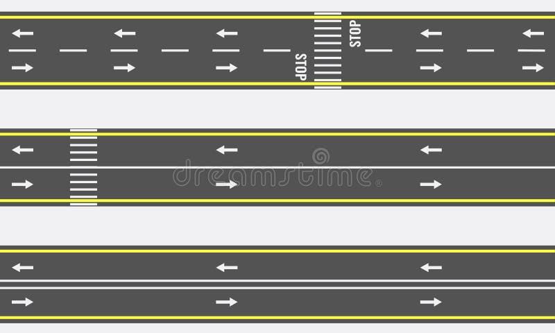 Vector Naadloze asfaltweg en wegtypes van hoogste mening stock illustratie