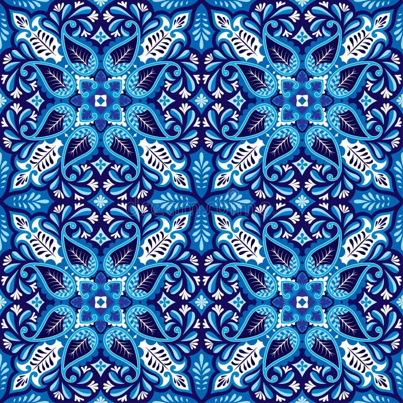 Vector naadloze bandanadruk met het ornament van Paisley Katoen of zijde headscarf, oosterse ontwerp van het hoofddoek het vierka royalty-vrije illustratie