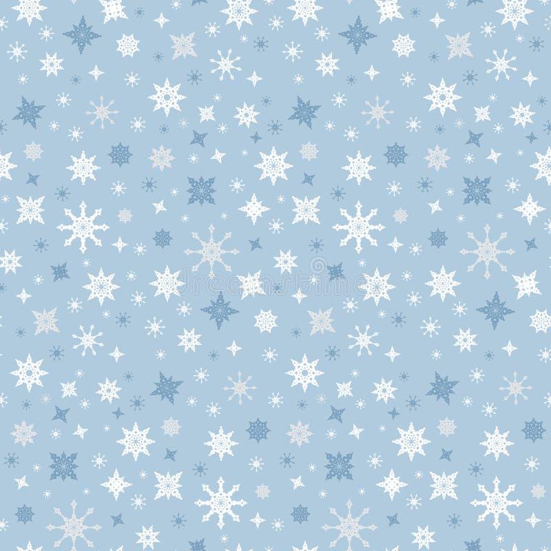 Vector Naadloze Blauwe de Winterachtergrond met Sneeuwvlokken royalty-vrije illustratie