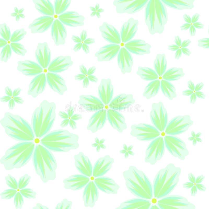 Vector naadloze bloemenachtergrond met een patroon van grote en kleine groene bloemen in pastelkleuren op een witte achtergrond stock fotografie