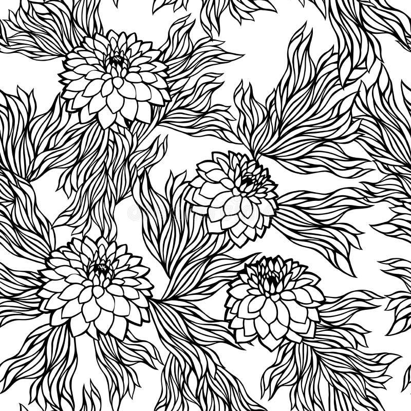 Vector naadloze bloemenpatroon zwart-witte zwart-wit stock illustratie