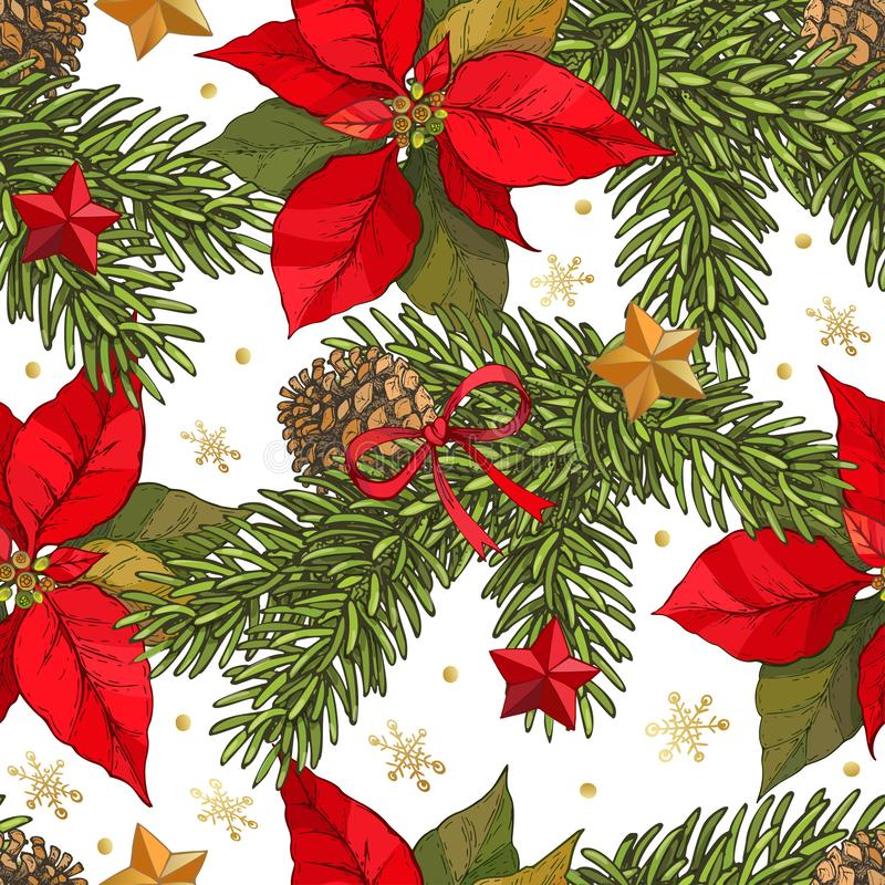 Vector naadloze die Kerstmisachtergrond met Hand met nette takken, kegels, poinsettia wordt getrokken bloeit, rode en gouden ster vector illustratie