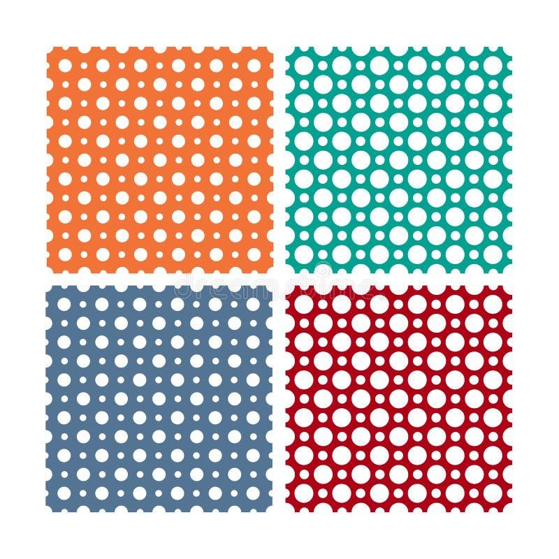 Vector naadloze die patronen of texturen met witte stippen op kleurenachtergrond worden geplaatst royalty-vrije illustratie