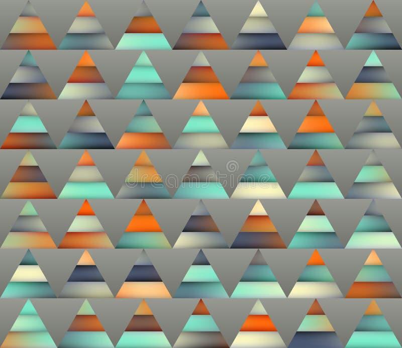 Vector Naadloze Gradiënt Mesh Color Stripes Triangles Grid in Schaduwen van Wintertaling en Sinaasappel stock illustratie
