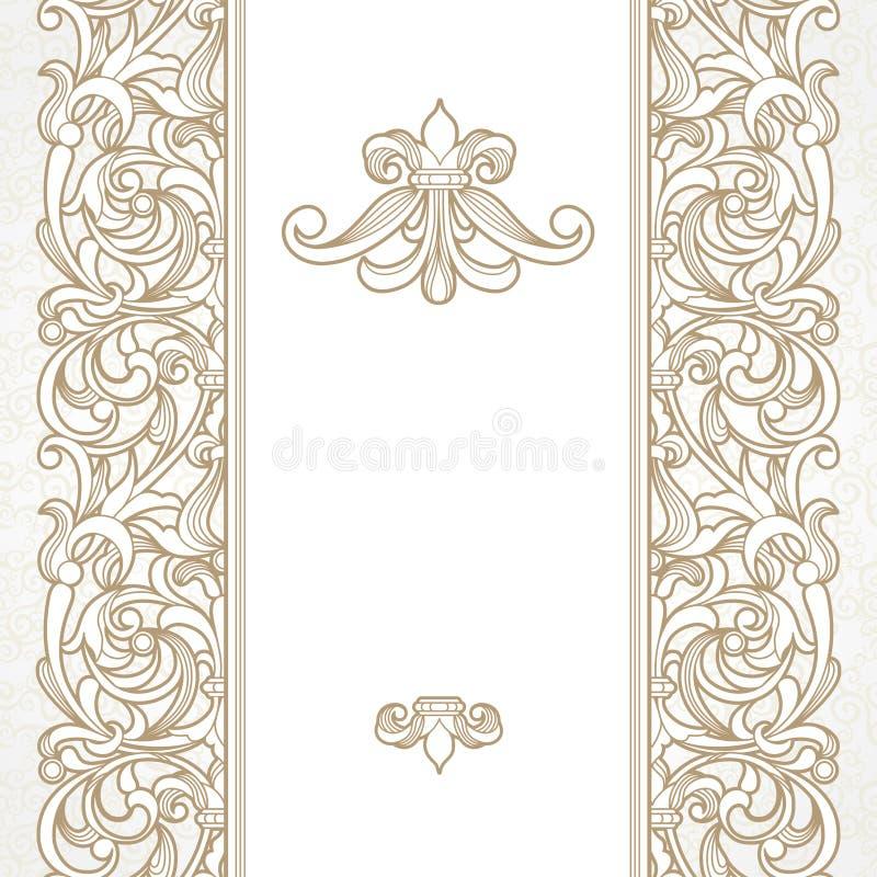 Vector naadloze grens in Victoriaanse stijl stock illustratie