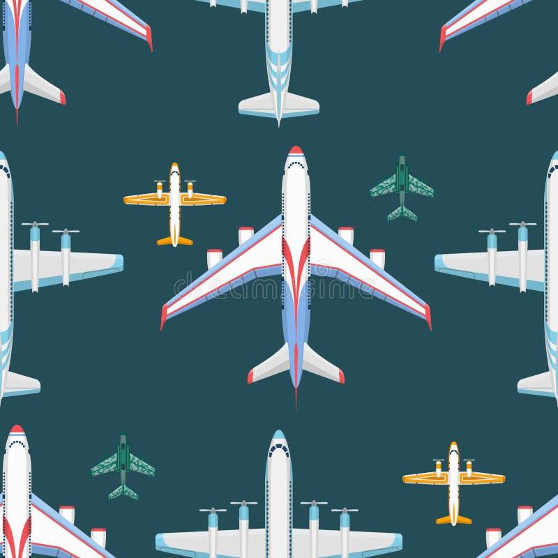 Vector naadloze het patroonachtergrond van de vliegtuigillustratie royalty-vrije illustratie