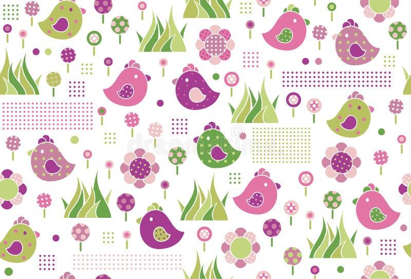Vector naadloze leuke patroon, vogels en flora stock illustratie