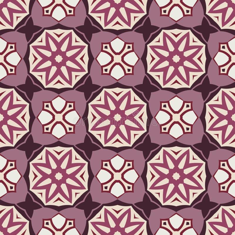 Vector Naadloze Meetkunde Violet Pattern Sterren en Vierkanten stock illustratie