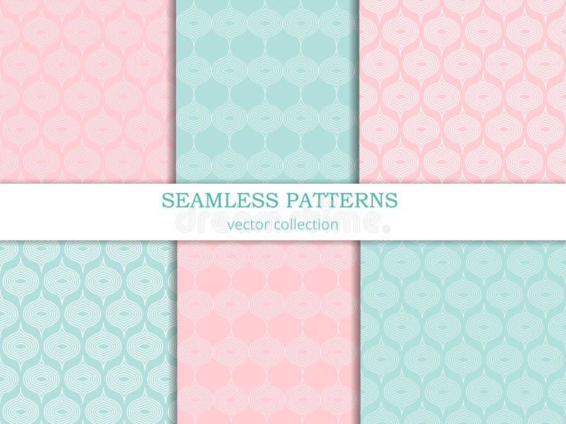 Vector naadloze patronen (het betegelen) inzameling in pastelkleuren Reeks geometrische ornamenten in retro stijl stock illustratie