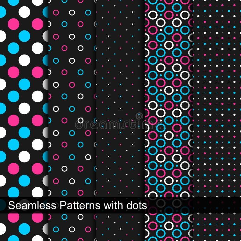 Vector naadloze patronen met cirkels en punten royalty-vrije illustratie