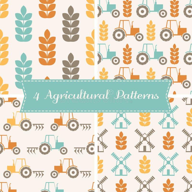 Vector naadloze patronen op landbouwthema royalty-vrije illustratie