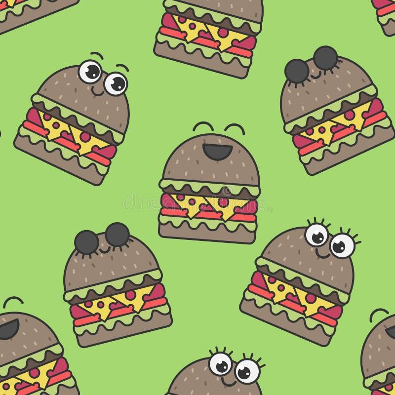 Vector naadloze patroon emotionele hamburgers stock illustratie