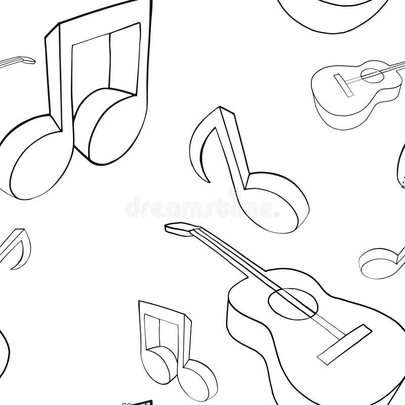Vector naadloze patroon grafische illustratie van gitaar, muzieknota's, Schetstekening, krabbelstijl Abstracte zwart-wit royalty-vrije illustratie
