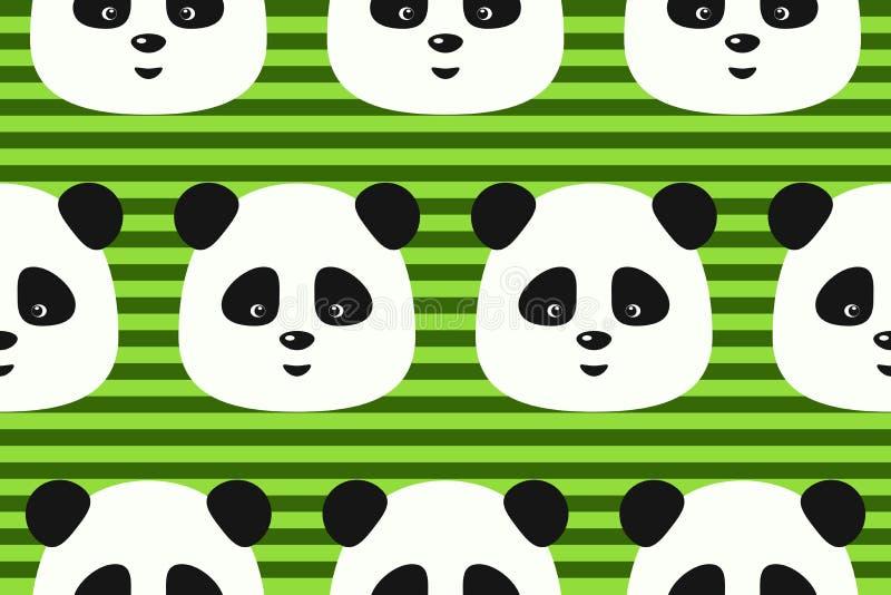 Vector naadloze patroon grappige panda op groene strepenachtergrond royalty-vrije illustratie