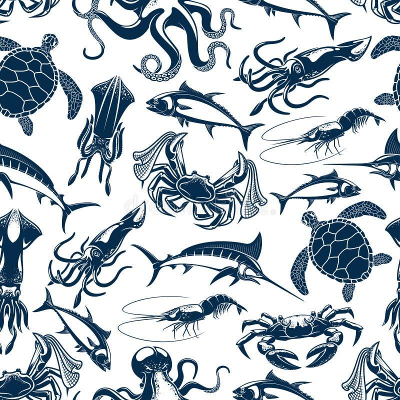 Vector naadloze patroon overzeese vissen visserijvangst stock illustratie