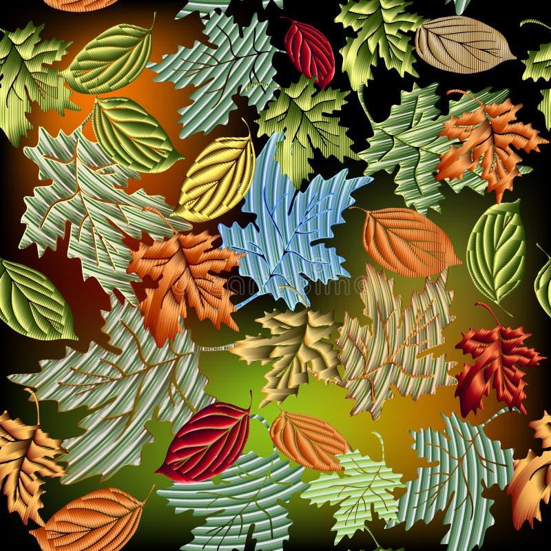 Vector naadloze patroon van Grunge het geweven 3d bladeren Kleurrijke sier bladachtergrond Helder herhaal bloemenachtergrond grun vector illustratie