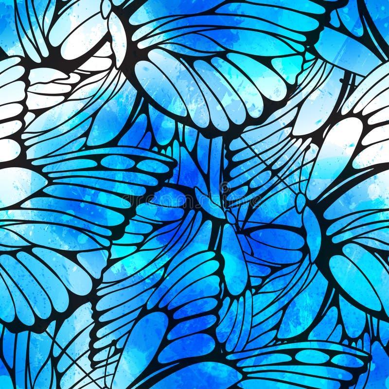 Vector naadloze patroon vliegende vlinders royalty-vrije illustratie