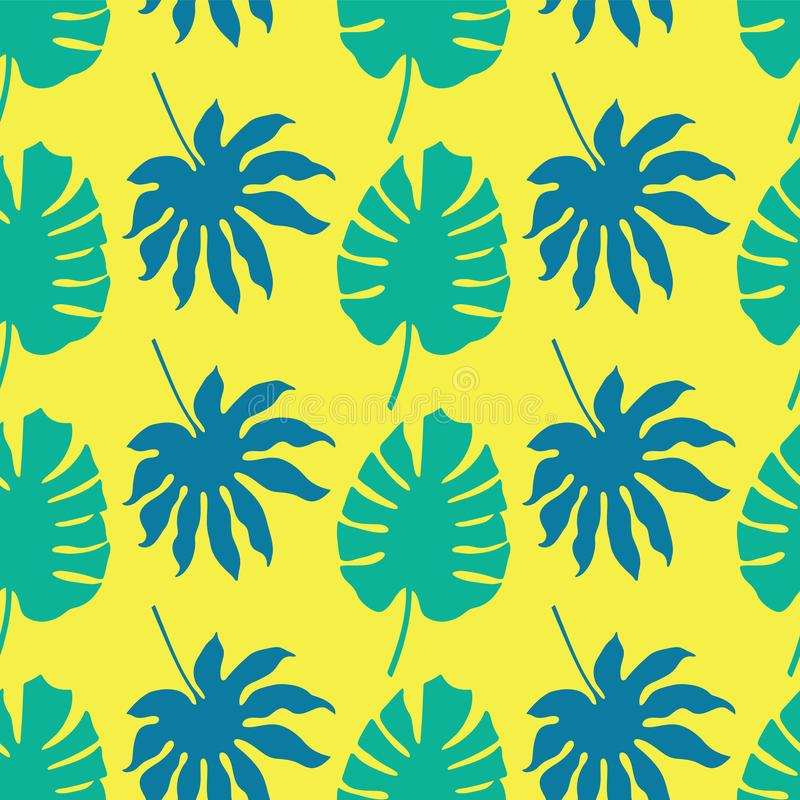 Vector naadloze patroonachtergrond met groene en blauwe tropische bladeren op neon gele achtergrond royalty-vrije illustratie