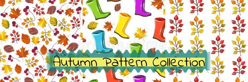 Vector naadloze patrooninzameling De herfst, dalingsreeks royalty-vrije illustratie