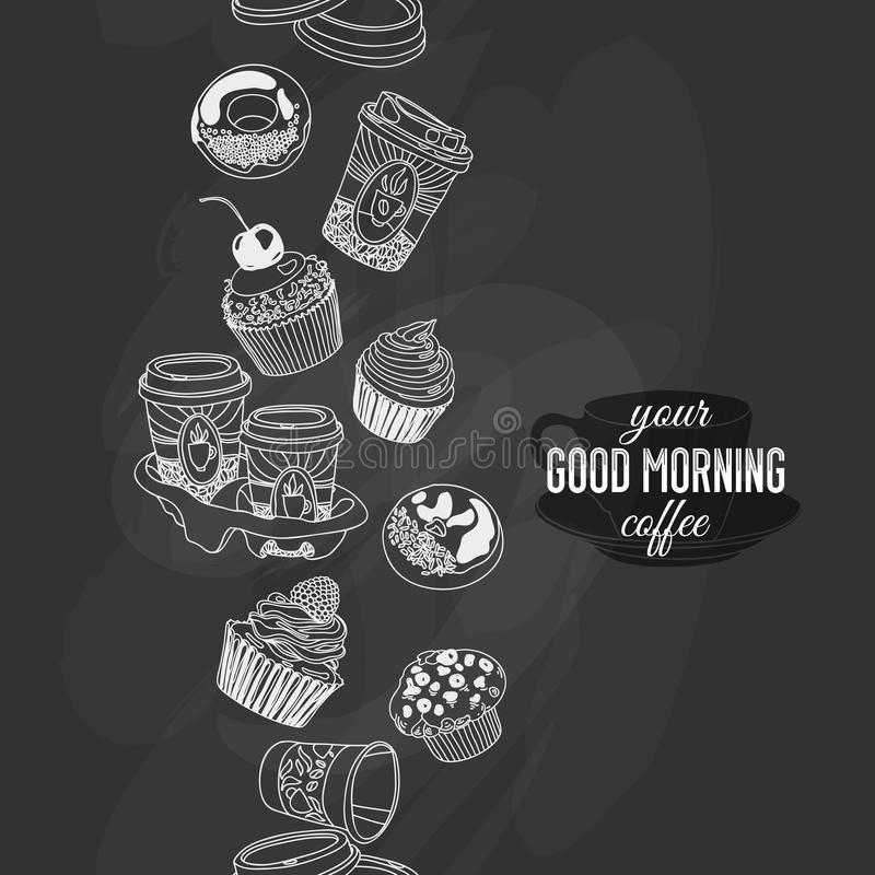 Vector naadloze pensionair met koffie en snoepjes vector illustratie