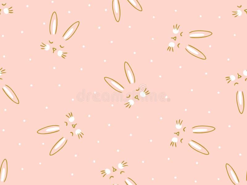 Vector naadloze roze achtergrond met weinig leuk konijntje stock illustratie