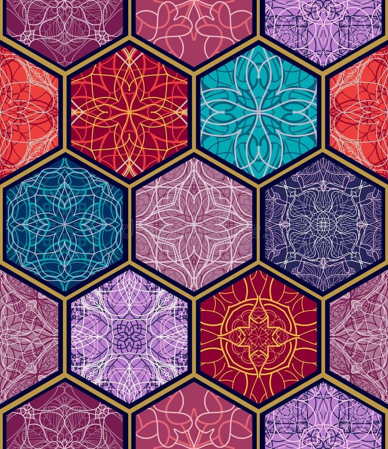 Vector naadloze textuur Het mooie megapatroon van het lapwerkmozaïek voor ontwerp en manier met decoratieve elementen in hexagon  vector illustratie