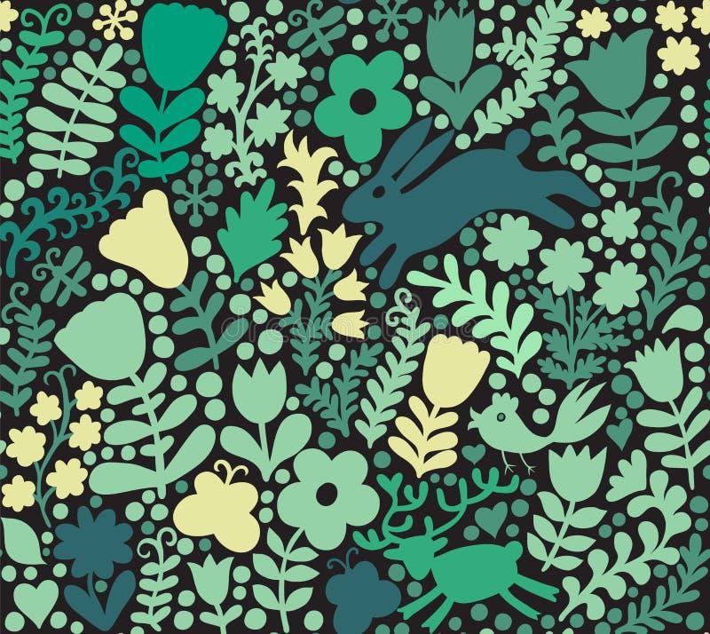 Vector naadloze textuur met bloemen, vogels en vlinders Aut royalty-vrije illustratie