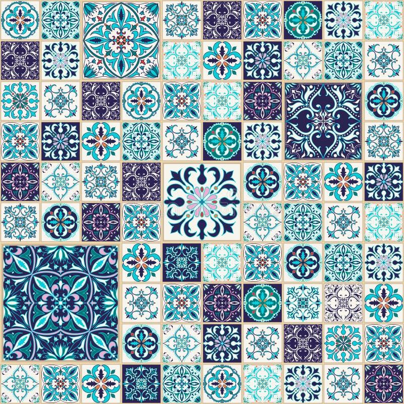 Vector naadloze textuur Mooi lapwerkpatroon voor ontwerp en manier met decoratieve elementen stock illustratie