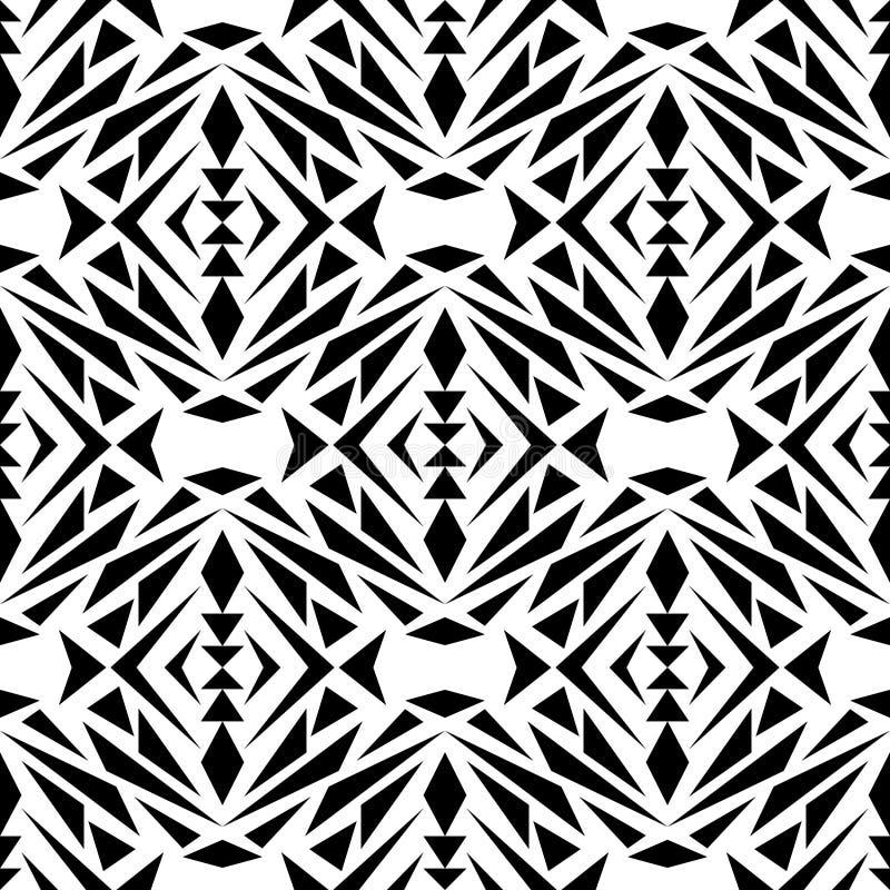 Vector naadloze textuur Zwart-wit Stammen Geometrisch Patroon Azteekse sierstijl vector illustratie