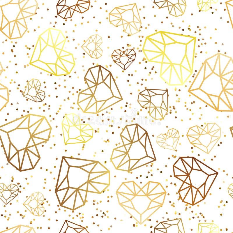 Vector naadloze witte glanzende achtergrond met diamanten van het overzichts de gouden hart, gemmen, juwelen stock illustratie