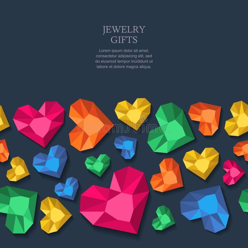 Vector naadloze zwarte achtergrond met veelkleurige hartdiamanten, gemmen, juwelen royalty-vrije illustratie