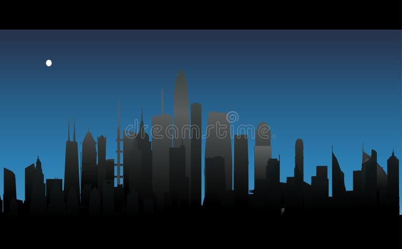 Vectornachtstad vector illustratie